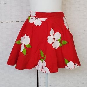Hollister Red Floral Mini Skirt